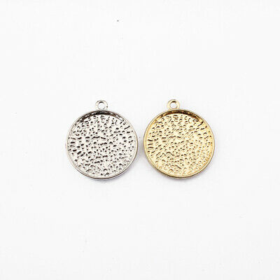 £3.49 • Buy 10 X Silver/Gold Plated 22mm Round Blanks Bezel Cameo Cabochon Setting Base