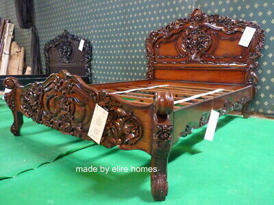 UK King Size 5' Antique Shabby Chic French Style Furniture Venetian Rococo Bed  • 899£
