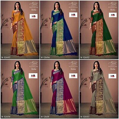 Designer Saree Indian Pakistani Cotton Silk Party Wear Ethnic Kanjivaram Sari MB • 19.99£