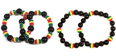 $3.99 • Buy 2pcs Fashion Rasta Reggae Glass W/plastic Bead Bracelet Elastic 2pc
