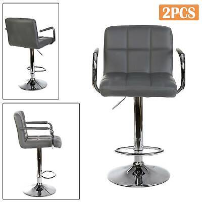 2 × Bar Stools Leather Chair Breakfast Chairs Swivel Gas Lift Kitchen Cushioned • 60.99£