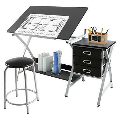 Drafting Table With Stool & Three Drawers Adjustable Height Tiltable Tabletop  • 102.99£
