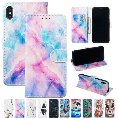 AU17.99 • Buy For IPhone 7/8 Plus 6/6s XS Max XR XS Painted Pattern Leather Wallet Cover Case