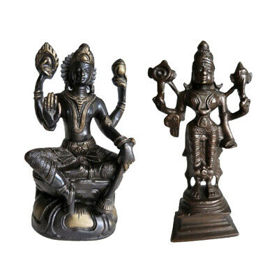 Two Statuettes Goddess Lakshmi Bronze And Gold-plated Brass India • 75£
