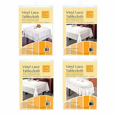Vinyl Lace Tablecloth Table Cover White Square Round Oval Rectangle Embossed • 8.99£