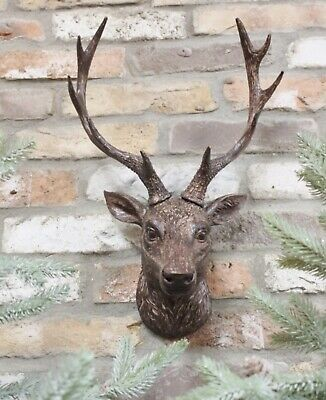 Wall Mounted Stag Head Antlers Deer Wall Plaque Sculpture Figure 47cm Decoration • 29.89£