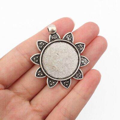 £2.99 • Buy 5x Antique Silver Round Cameo Cabochon Settings  Pendant Trays 25mm Blanks Bezel