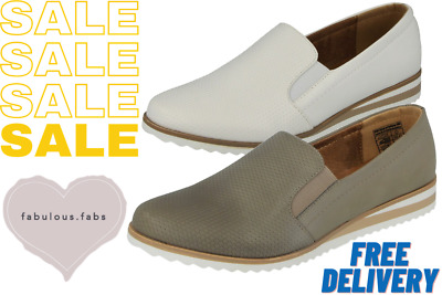 Ladies Faux Leather Slip On Wedge Flatform Espadrille Dolly Ballet Pumps Loafers • 7.99£