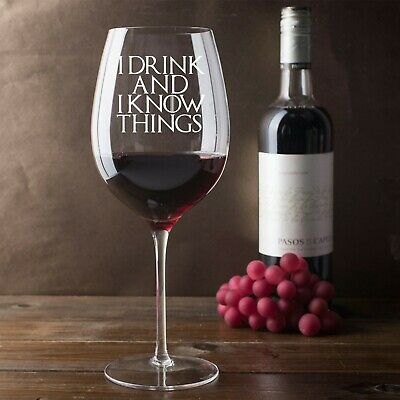 £9.99 • Buy I Drink And I Know Things Game Of Thrones Inspired 750ml Wine Glass