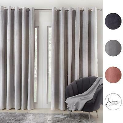 Sienna Pair Super Soft Velvet Curtains Eyelet Ring Top Fully Lined Blush Silver • 20.99£