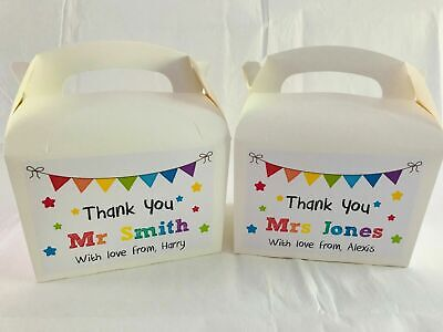 Personalised Thank You Teacher End Of Term Present Bag Gift Box • 2.89£