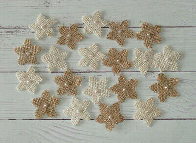 New 20 Hessian Flower Card Topper Craft Decoration Embellishment Cream And Brown • 1.99£