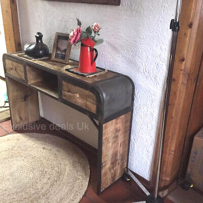 Rustic Industrial Console Table Sideboard Hall Hallway Furniture Vintage Style • 179.80£
