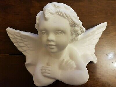 £12 • Buy 1 Architectural Plaster Cherub Angel Wings Face Wall Decor Plaque Handmade New