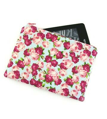 AU26 • Buy Roses On Blue Kindle Padded E-Reader Case, Kindle Sleeve, Amazon Oasis Zip Pouch