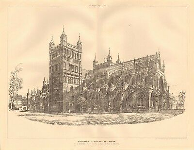£14.99 • Buy 1891 Antique Architectural Print-cathedral- Exeter