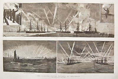 1887 The Jubilee Naval Review At Spithead The Illumination Of The Fleet • 25.99£