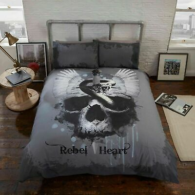 Rapport Rebel Heart Skull Gothic Photographic Print Duvet Cover Bedding Set • 14.99£