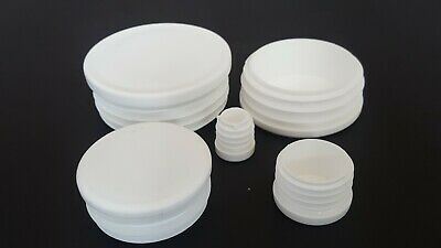 Round Plastic White Blanking End Cap Caps Tube Pipe Inserts Plug Bung • 1.25£
