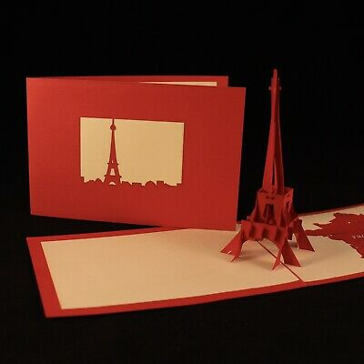 POP UP 3D Card - Eiffel Tower, Paris, France (travel, Bon Voyage) Architecture • 2.45£