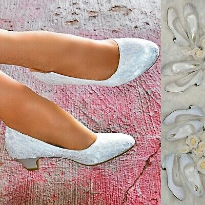 Womens Low Block Heel Floral Lace Wedding Shoes Bridal Pumps White Ivory Size • 24.64£