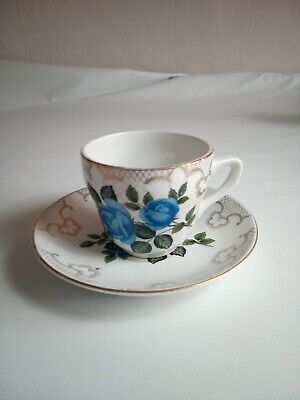 Sampson Bridgwood Cup & Saucer Blue Rose • 6.50£