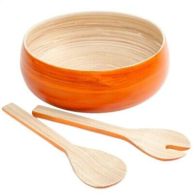 $24.99 • Buy NEW Gibson Overseas 3-Piece Bamboo Salad Set In Orange - Serving, Bowl, Wood