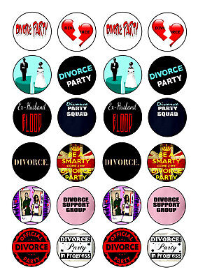 24 Happy Divorce Party  Cupcake  Wafer Rice Edible Fairy Cake Toppers • 1.80£