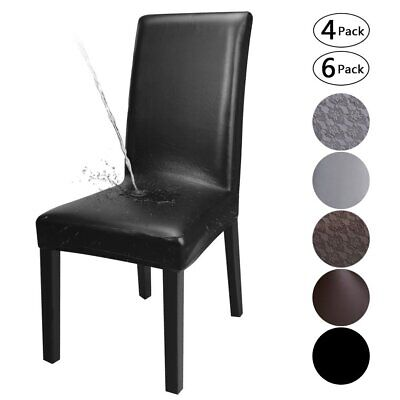 AU37.99 • Buy 1/4/6PCS Dining Chair Covers PU Leather Waterproof Durable Wedding Party Cover