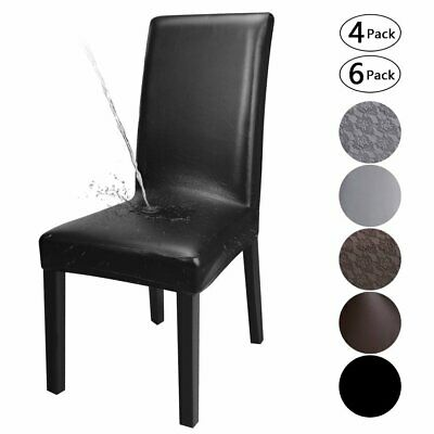 AU55.09 • Buy 1/4/6PCS Waterproof Dining Chair Covers PU Leather Durable Seat Cover Slipcovers
