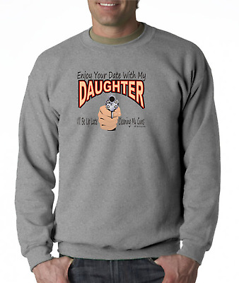 $25.77 • Buy Gildan Crewneck Sweatshirt Enjoy Your Date With Daughter Dad Cleaning Guns