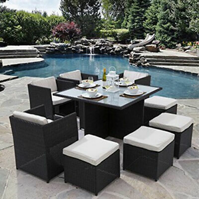 Cube Rattan Garden Furniture Set Chairs Sofa Table Outdoor Patio Wicker 8 Seater • 429.90£
