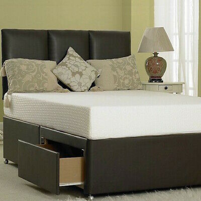 £324.95 • Buy MEMORY LEATHER DIVAN BED WITH MATTRESS & HEADBOARD 3FT 4FT6 Double 5FT KING 6FT