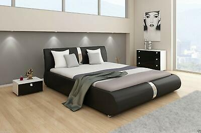£254.56 • Buy Canali Double Or King Size Leather Bed Black & White + Memory Foam Mattress Beds
