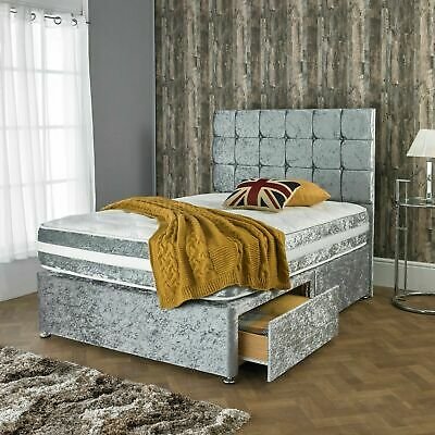 £324.95 • Buy Crushed Velvet Divan Bed With Storage + Orthopedic Mattress All Sizes + Free Hb