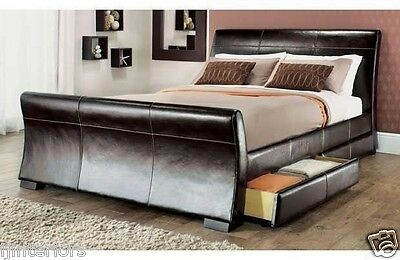 £329.44 • Buy 4 Drawers Leather Storage Sleigh Bed Double Or King Size Beds + Memory Mattress