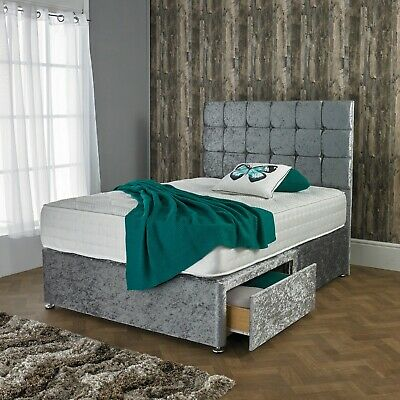 £234.95 • Buy New Crushed Velvet Divan Bed Set With Orthopedic Mattress And Free 20  Headboard