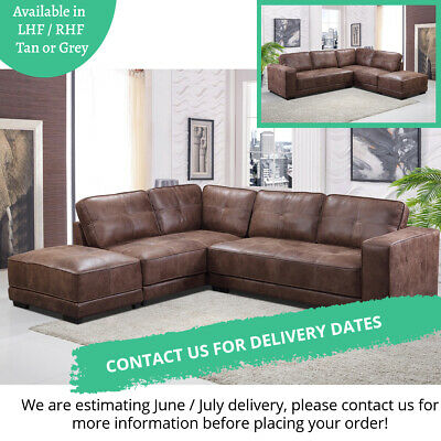 New Cheap Carlton Large Tan Leather Corner Sofa With Footstool Left Hand Facing • 779£