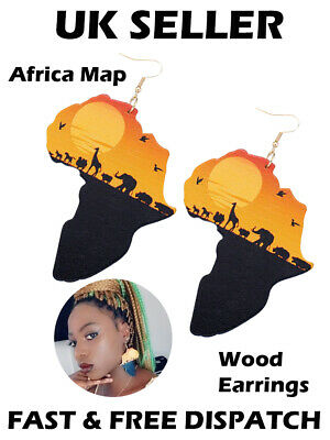 African Map Animals Africa Sunset Large Wooden Earrings Ethnic Beautiful Jewelle • 3.99£
