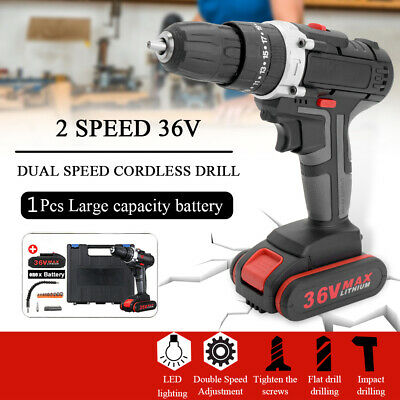 View Details 36V Cordless Combi Drill Dual Speed + Li-Ion Fast Charge Electric Screwdriver UK • 56.99£