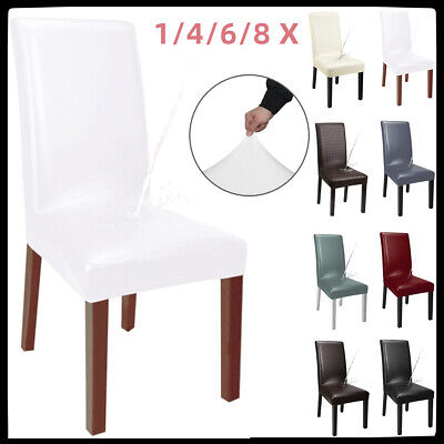 AU31.99 • Buy Chair Covers Seat Cover Dining Home Chairs Seat Slipcover Waterproof PU Leather