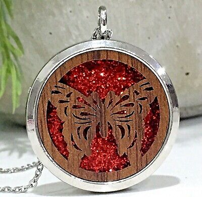 AU12.95 • Buy New Wood Butterfly Aromatherapy Diffuser Essential Oil Necklace 10 Perfume Pads