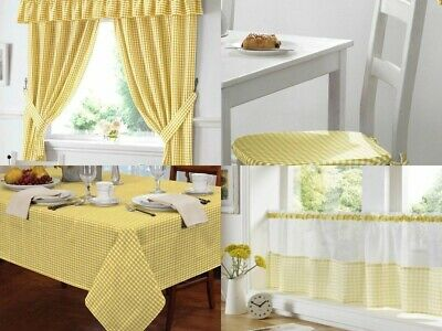 TM Gingham Check Yellow Kitchen / Cafe Curtains - Seat Pads Tablecloths Pelmets • 12.99£