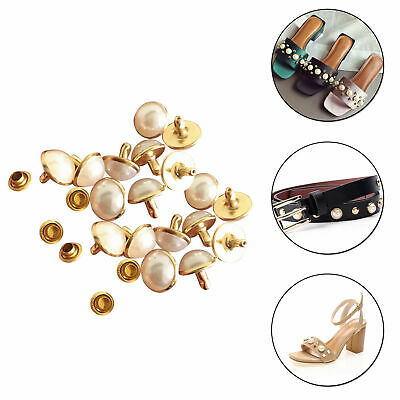 Half Ball Round Pearls With Rivets Studs Brass For Leather Crafts Jeans Wedding • 4.09£