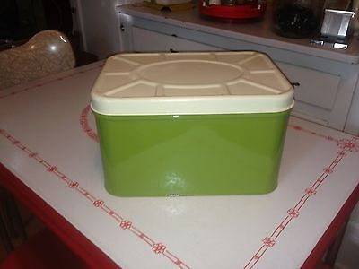 $40.50 • Buy Vintage White And Green Tin Bread Box   Kitchen Collectable Empeco