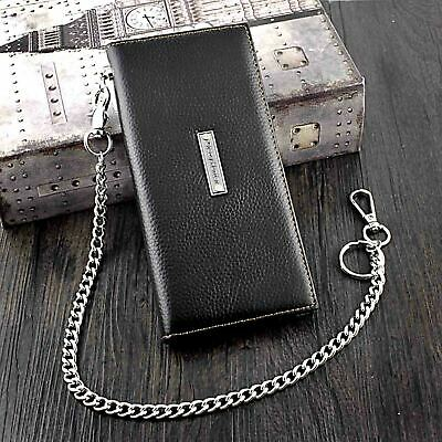 Men Long Genuine Leather Biker Card Holder Wallet Purse With Chain CH03 • 16.92£