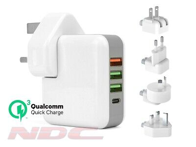AU27.18 • Buy 4-Port QuickCharge 3.0 USB-A/Type-C Travel Wall Phone/Tablet Charger UK/EU/US/AU