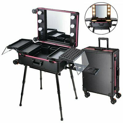 Cosmetic Make Up Travel Trolley Artist Pro Rolling Case With Light Mirror Box UK • 259.87£