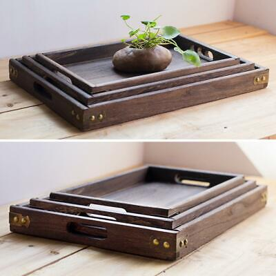 $12.29 • Buy Square Wood Serving Tray Retro Food Tea Coffee Plate Breakfast Snack Table Tray