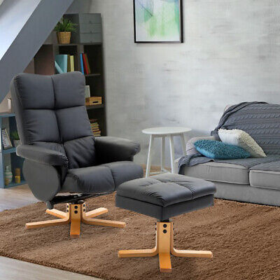 Recliner Chair And Footstool Faux Leather Reclining Armchair Matching Foot Stool • 239.80£